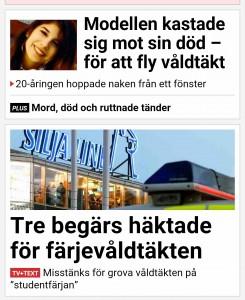 Det jag möttes av när jag öppnade Aftonbladets app. Kul att vara kvinna. Inte.